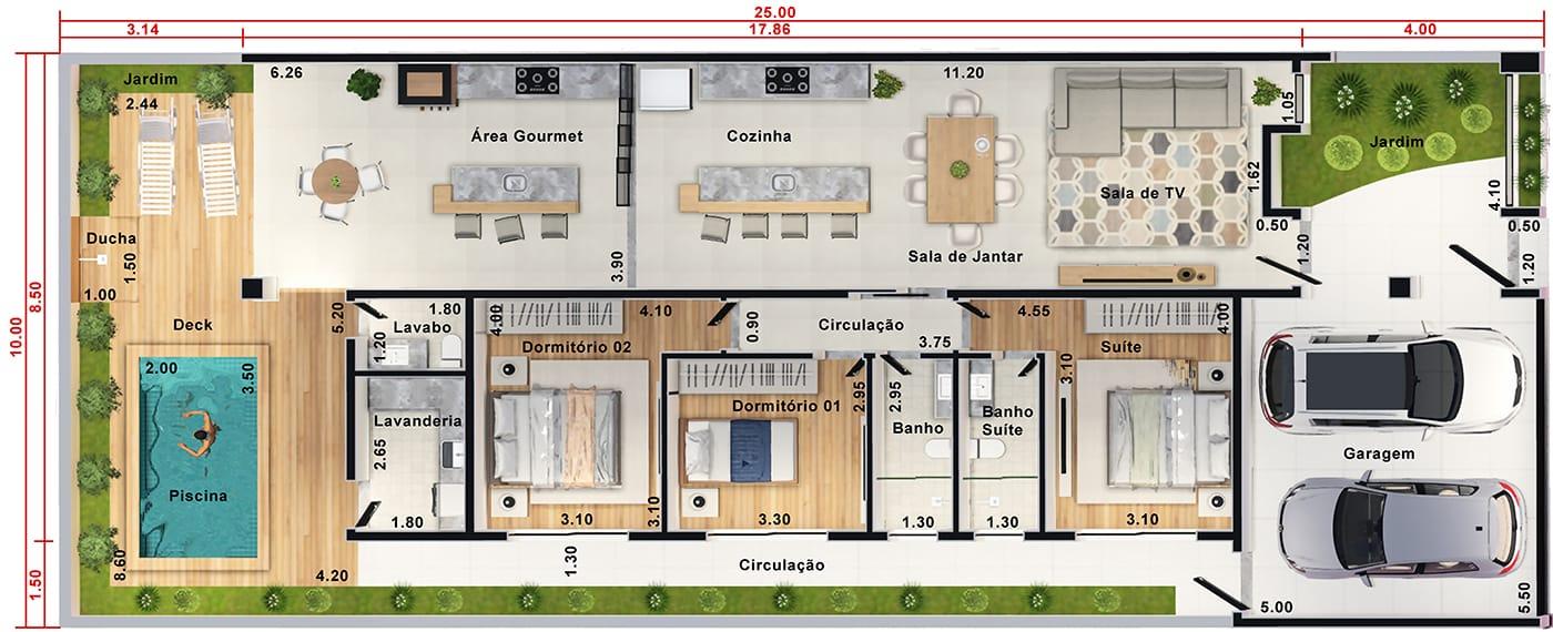 Projeto de casa térrea com pé-direito duplo. Planta para terreno 10x25