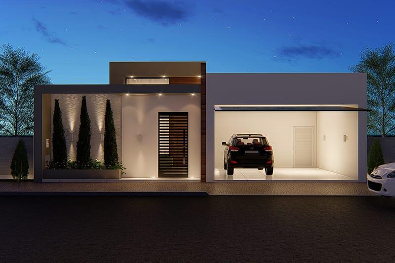 Projeto de casa com área íntima separada