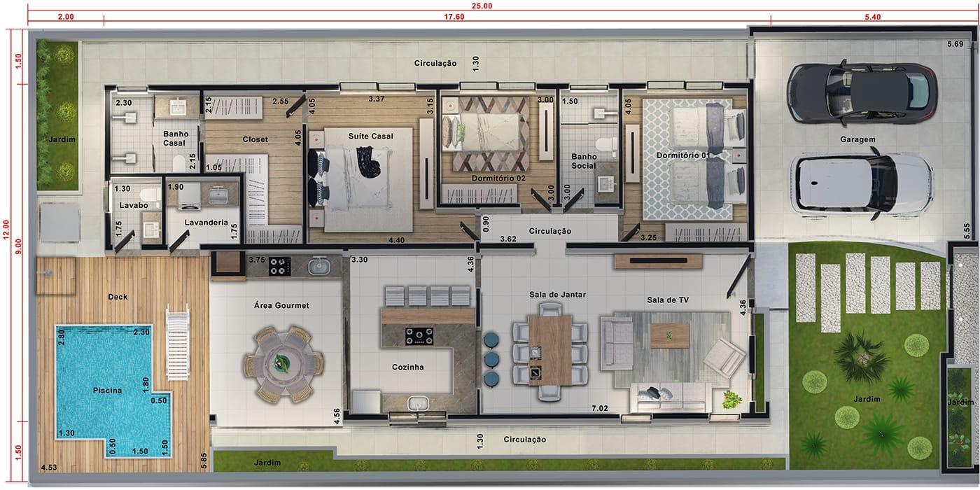 Projeto de casa com área íntima separada. Planta para terreno 12x25