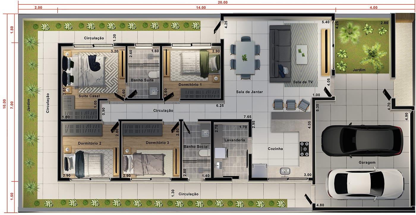 Projeto de casa térrea funcional. Planta para terreno 10x20