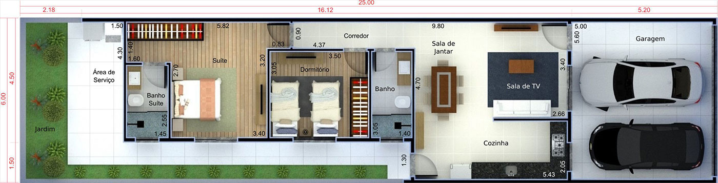 Planta de casa para investimento. Planta para terreno 6x25
