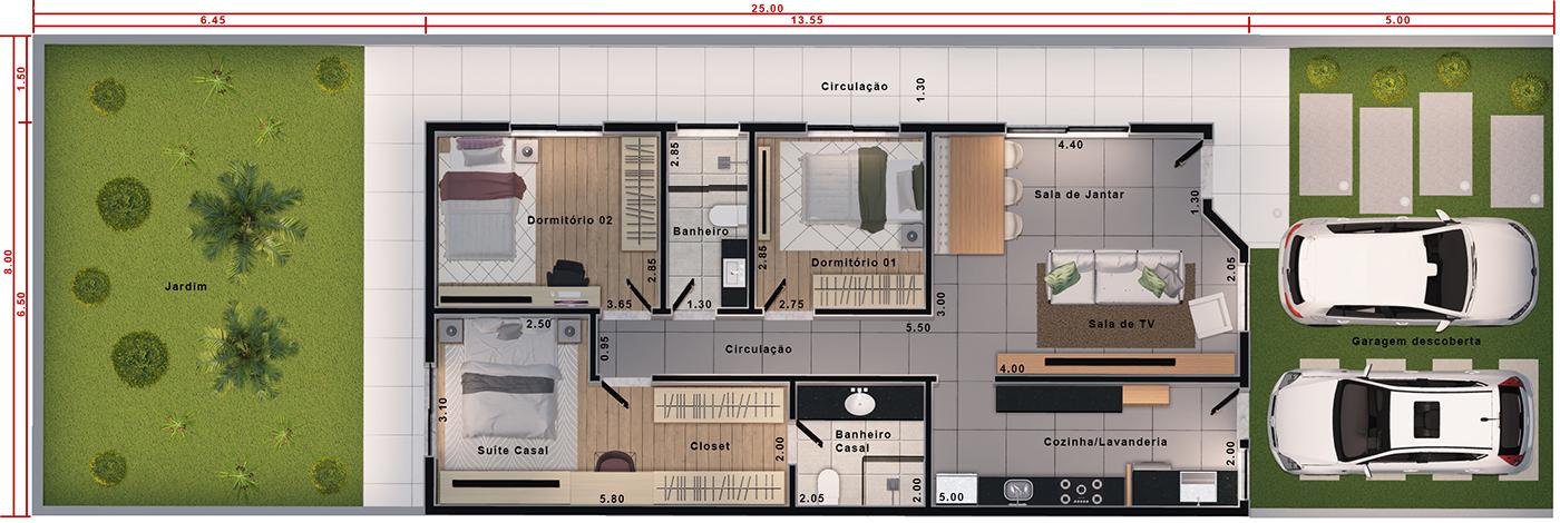 Planta de casa com suite e closet. Planta para terreno 8x25