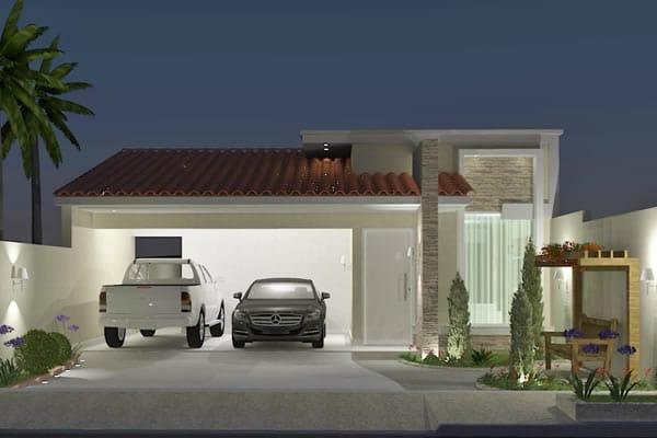 Fachada com telhado aparente e pergolado