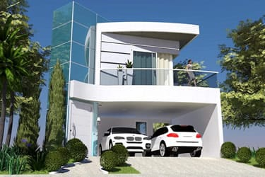 Projeto de sobrado com fachada de vidro