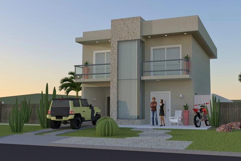 Casa com pedra e dois andares