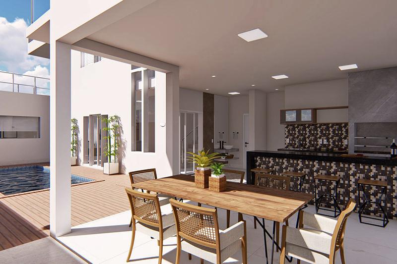 Projeto de sobrado com terraço