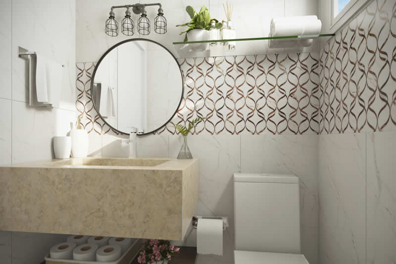 Banheiro externo com revestimento