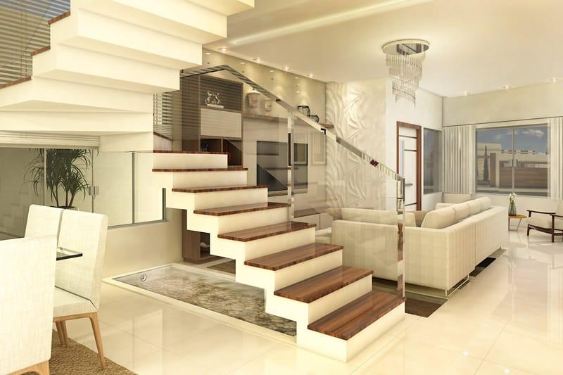 Escada com corrimão metálico