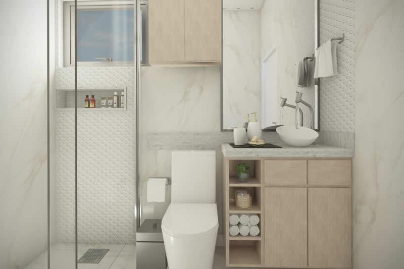 Banheiro com revestimento branco