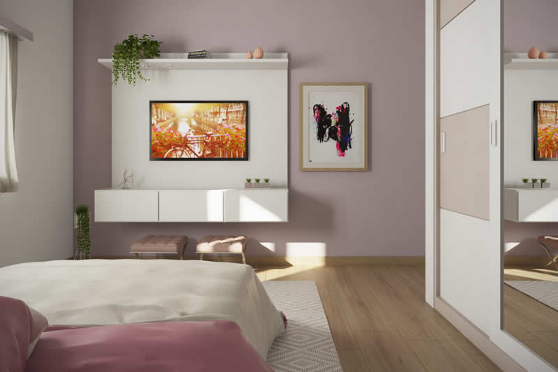 Quarto rosa com TV