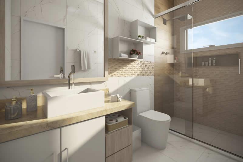 Banheiro clean e grande