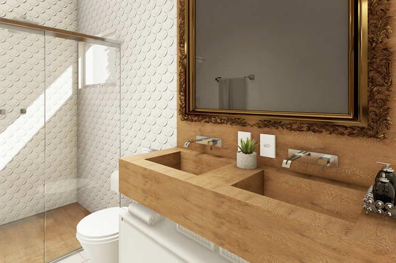Banheiro com espelho clássico
