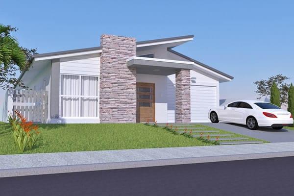Casa térrea com fachada de pedra