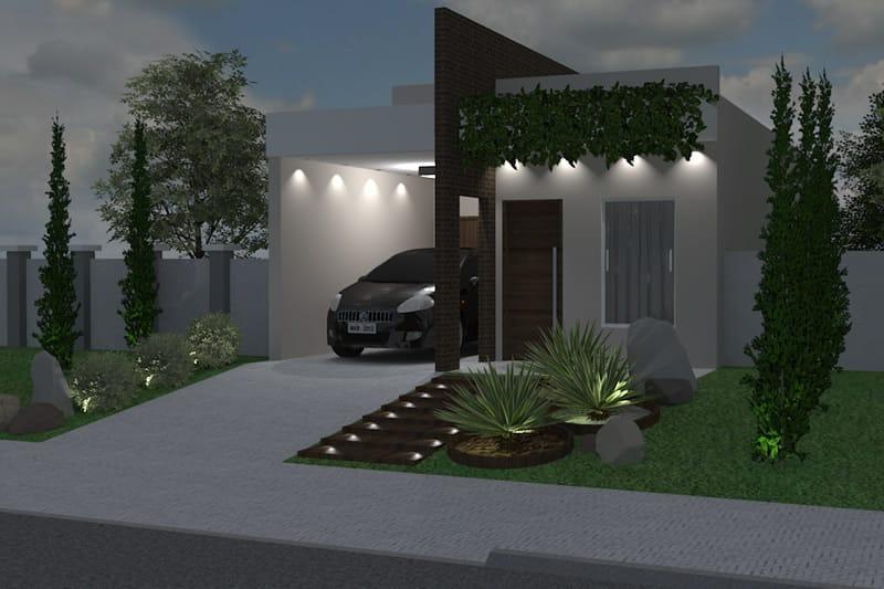 Planta de casa com tijolo à vista