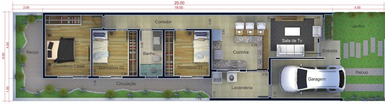 Planta de casa com tijolo à vista . Planta para terreno 6x25