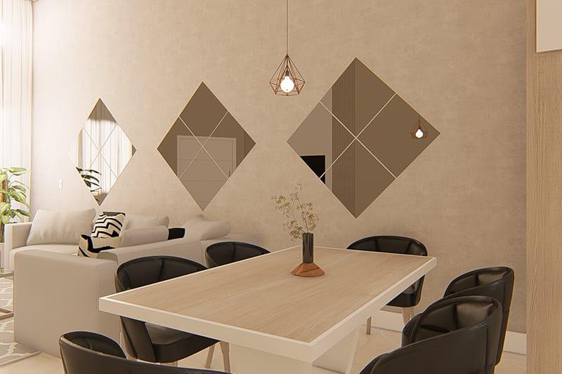 Mesa de jantar com textura de madeira