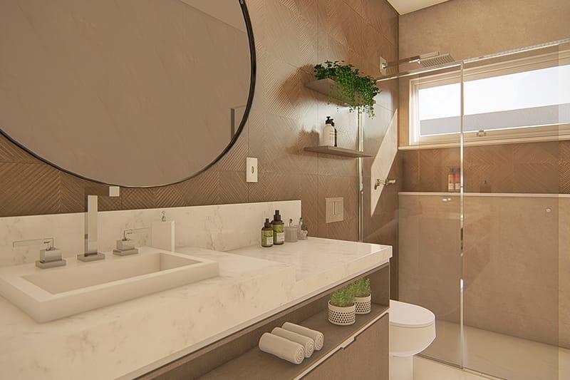 Banheiro com revestimentos escuros