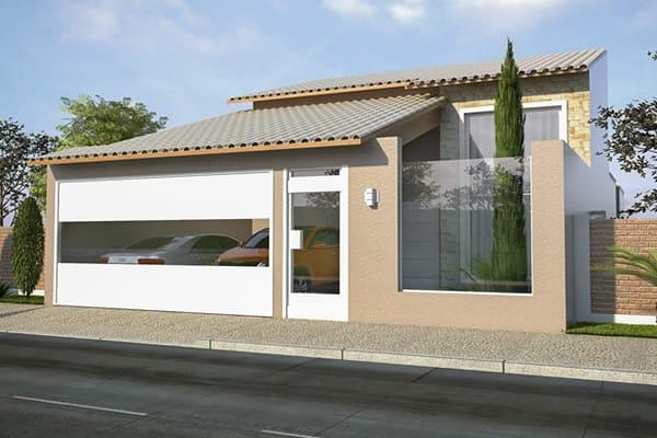 Fachada com telhado aparente e muro de vidro