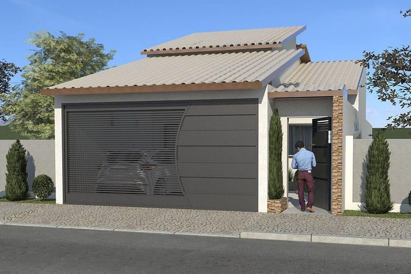 Casa com telhado aparente e portão preto