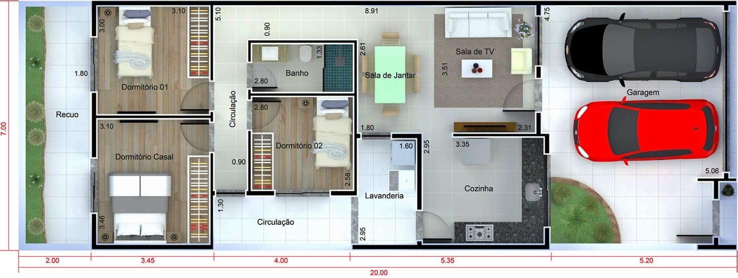 Planta de casa com fachada preto e branco. Planta para terreno 7x20
