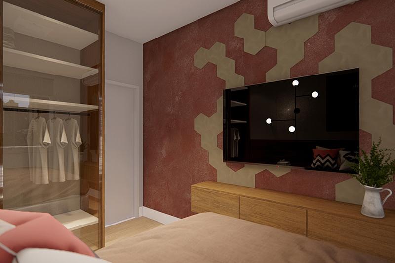 Banheiro com espelho grande e box