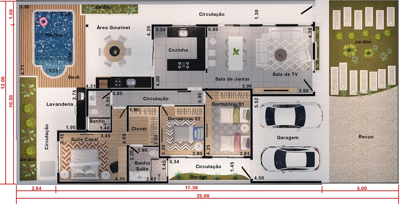 Projeto De Casa T Rrea Com 3 Quartos Projetos De Casas Modelos  ~ Planta Baixa Cozinha Americana