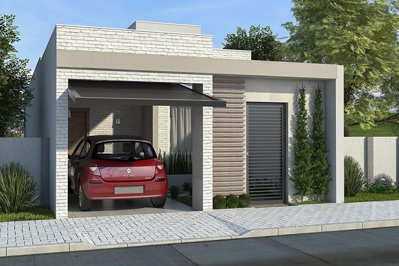 Fachada de casa com garagem para um carro