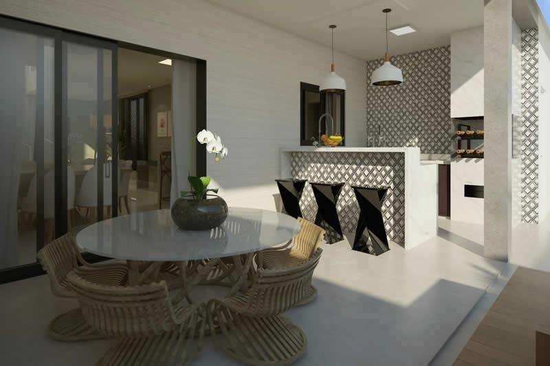 Área gourmet com revestimento e mesa
