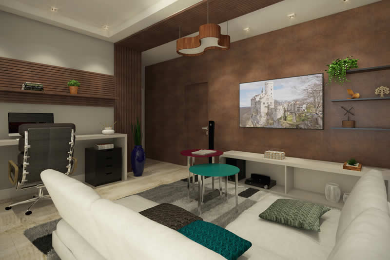 Sala de TV espaçosa