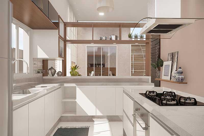 Cozinha branca com ilha