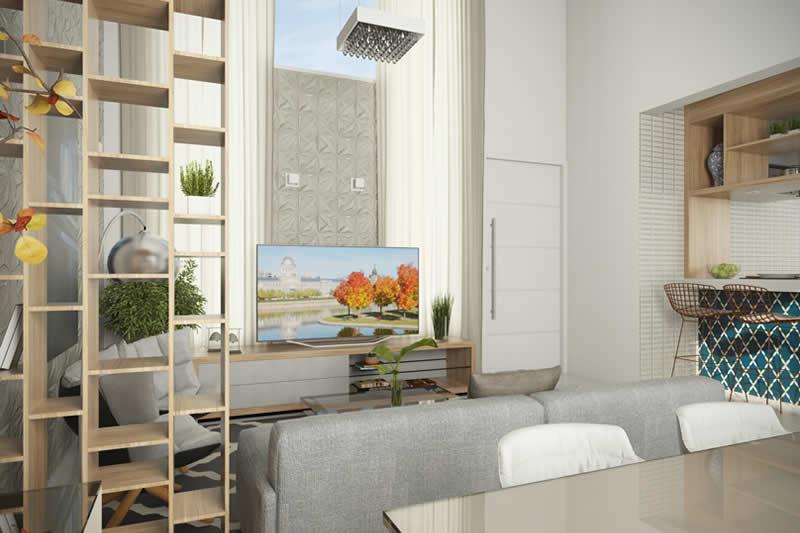 Planta de casa térrea com suite e closet