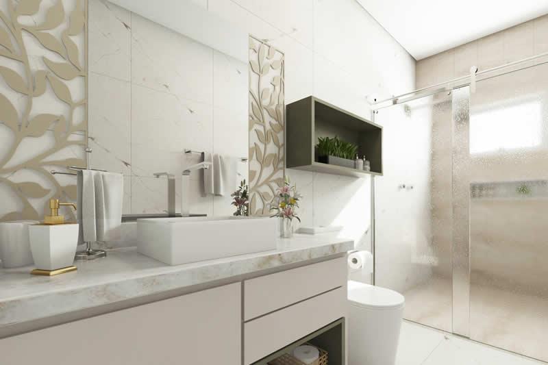 Banheiro com nicho e box