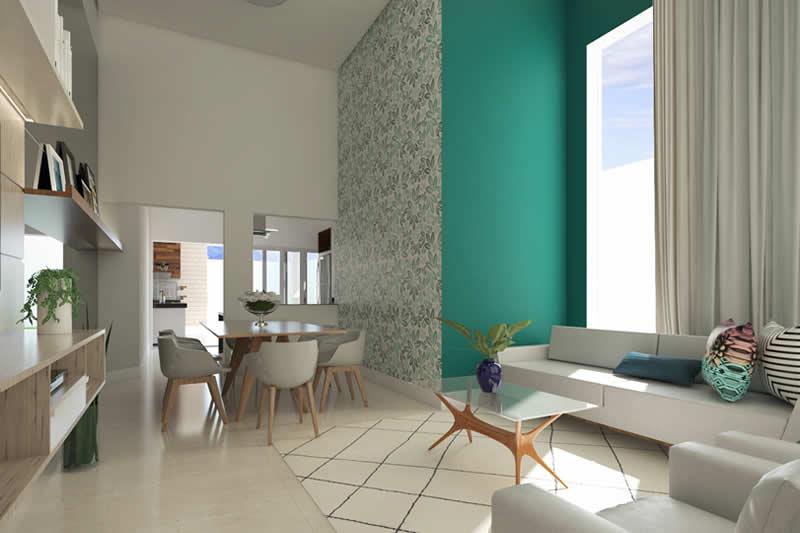 Sala de TV com parede verde