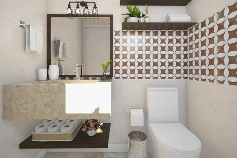 Banheiro da área gourmet com revestimento