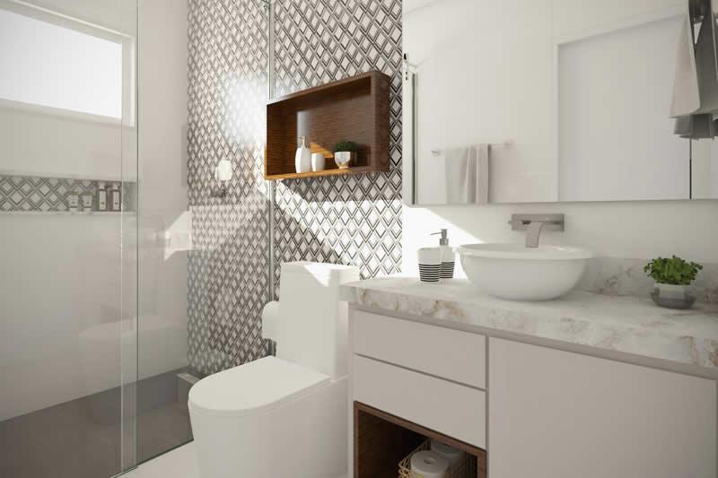 Banheiro com bancada branca
