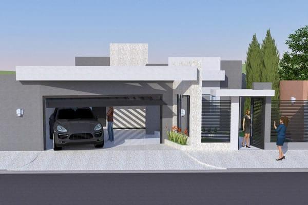 Planta de casa Moderna com área gourmet