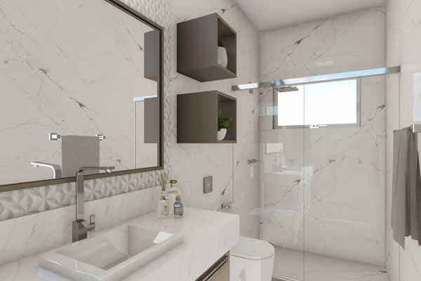 Banheiro branco com nichos