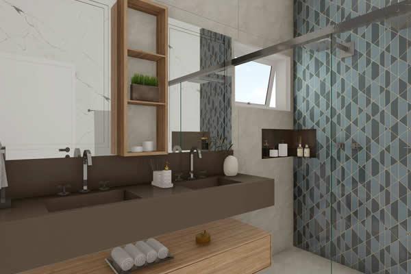 Banheiro moderno madeira