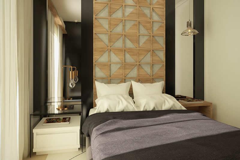 Quarto decorado com cama de casal