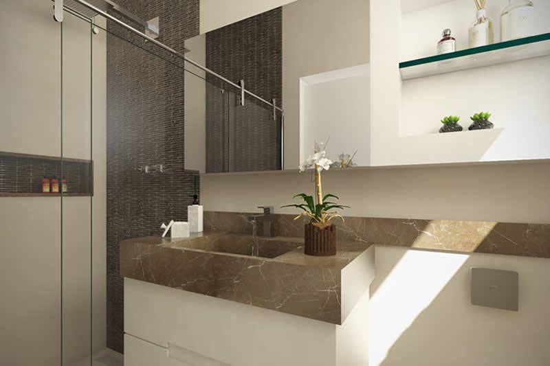 Banheiro com bancada escura
