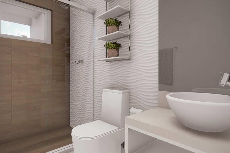 Banheiro com madeira e revestimento