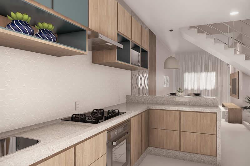 Cozinha em L com madeira