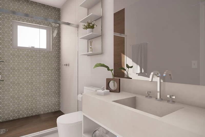 Banheiro moderno com espelho grande